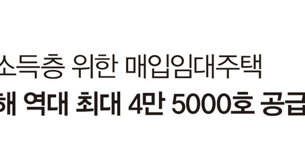 저소득층 위한 매입임대주택 올해 역대 최대 4만 5000호 공급